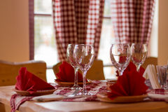Wine glasses on the tavern table Stock Image