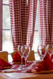 Wine glasses on the tavern table Royalty Free Stock Photography