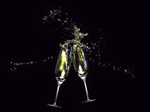 Wine glasses toasting Royalty Free Stock Images