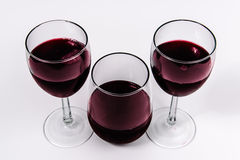 Wine and glasses from top Royalty Free Stock Photography