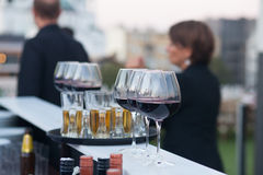 Wine glasses on tray Royalty Free Stock Image