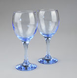 Wine glasses. Two blue coloured wine glasses.  Photo taken March 2014 Royalty Free Stock Images