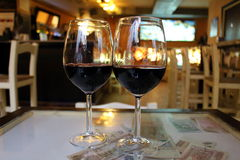 Wine glasses. Two glasses in a Granada's restaurant Royalty Free Stock Photos