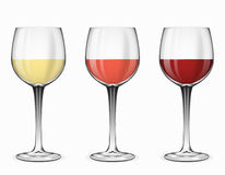 Wine glasses vector. Glass of red rose and white beverage. Wine glasses vector. Glass of red wine, rose wine and white wine on white illustration Royalty Free Stock Photo