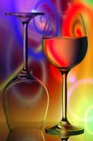 Wine Glasses Vivid Background. Pair of wine glasses on colorful, vivid abstract background Royalty Free Stock Photo