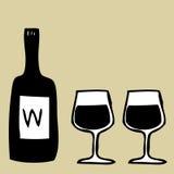 Wine Glasses and Wine Bottle. Illustration of hand drawn Wine Glasses and Wine Bottle Stock Image