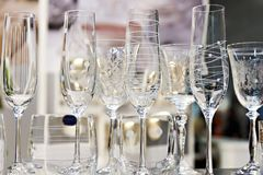 Wine glasses for wine and champagne. On table Stock Image