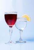 Wine glasses with wine and lemon close-up, Royalty Free Stock Photos
