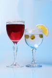 Wine glasses with wine and lemon close-up, Stock Photography