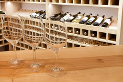 Wine glasses in wine rack. Empty wine glasses in wine rack stock photo