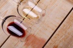 Wine glasses on wood Royalty Free Stock Image