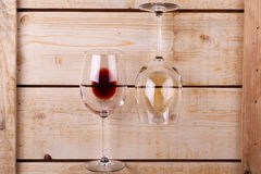 Wine glasses on wood Stock Photography