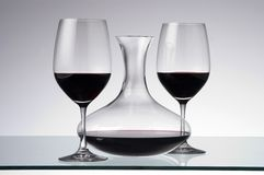 Wine glassware. Wine glasses and wine decanter Royalty Free Stock Photo