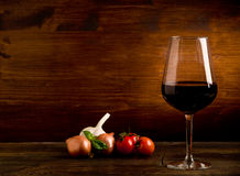Wine Goblet with fresh ingredients Stock Image
