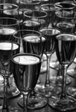 Wine in Goblets. An array of different beverages in wine goblets Stock Photos