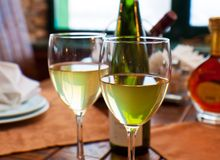 Wine goblets on restaurant table Stock Image