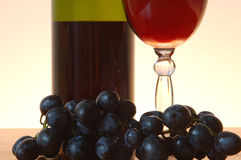 Wine and grape. Bottle of red wine , wineglass and grape Stock Images