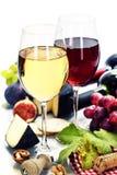 Wine, Grape And Cheese Stock Photo
