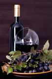 Wine and grape on a background of a canvas Royalty Free Stock Images