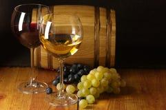 Wine, grape and barrel stock photo