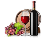 Wine with grape and barrel Royalty Free Stock Image
