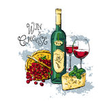 Wine grape cheese Royalty Free Stock Photography
