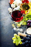 Wine, grape and cheese Royalty Free Stock Photos