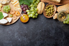Wine, grape, cheese and honey Stock Image