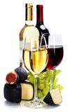 Wine, grape and cheese royalty free stock image