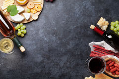 Wine, grape, cheese, sausages Stock Photography