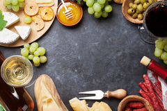 Wine, grape, cheese, sausages stock photo