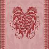 Wine grape engraving background Stock Photos