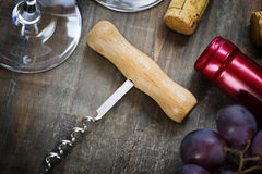 Wine,grape, glasses and corkscrew Stock Photography