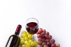 Wine and grape, isolated on white background Stock Image