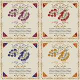 Wine grape labels by sort woodcut. Violet, red,blue and yellow with text box Stock Photography