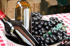 Wine and grapes. Red wine and white wine with grapes Stock Photography