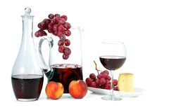 Wine and Grapes. A summer snack Royalty Free Stock Photos