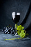Wine and grapes. A glass of wine next to a bunch of grapes on a black background Royalty Free Stock Photography