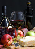 Wine and Grapes. An autumn display of wine and grapes. Harvest time stock photos
