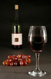 Wine and grapes. A bottle of wine, glass, with grapes royalty free stock photo