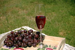 Wine & Grapes. Wine and grapes on a picnic table Stock Photo