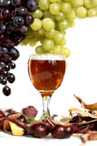 Wine and grapes arrangement  Royalty Free Stock Image