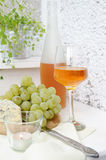 Wine, grapes and blue cheese Royalty Free Stock Photos