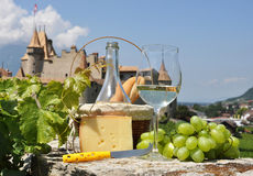 Wine and grapes. Chateau de Aigle, Switzerland Royalty Free Stock Photos