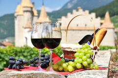 Wine and grapes. Chateau de Aigle, Switzerland Stock Photos