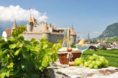 Wine and grapes. Chateau de Aigle, Switzerland Stock Photography