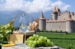 Wine and grapes. Chateau de Aigle, Switzerland Royalty Free Stock Photography