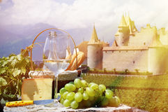 Wine and grapes. Chateau de Aigle, Switzerland Royalty Free Stock Image