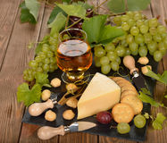 Wine, grapes and chees Stock Photography