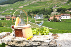Wine, grapes and cheese Stock Photography